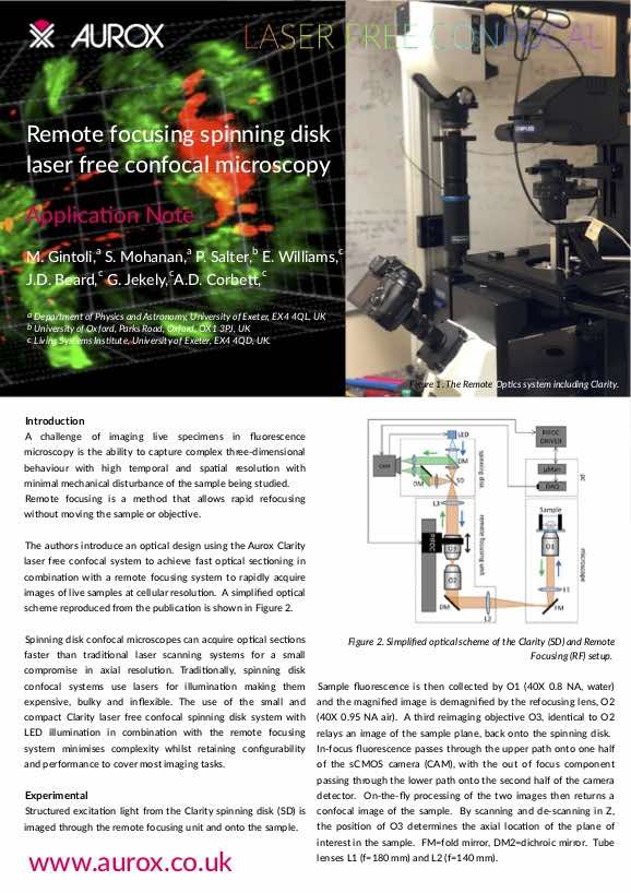 Remote focusing spinning disk laser free confocal microscopy application note