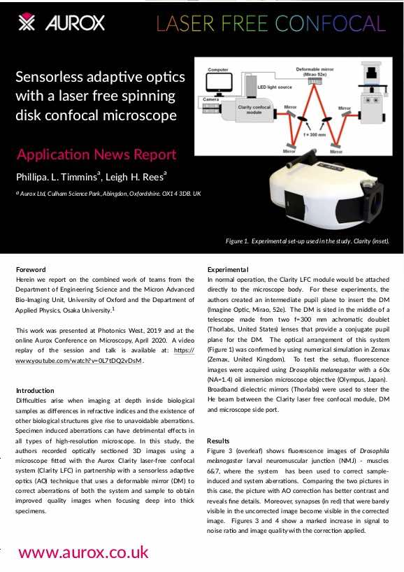 Sensorless adaptive optics with a laser free spinning disk confocal microscope